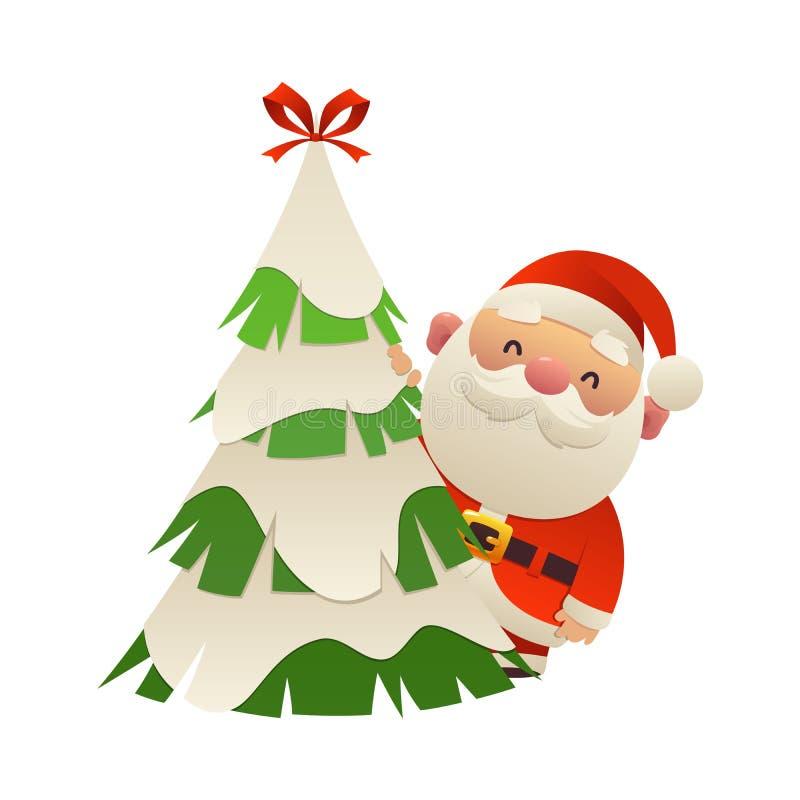 Desenhos animados bonitos Santa Claus atrás do vetor da árvore de Natal ilustração royalty free