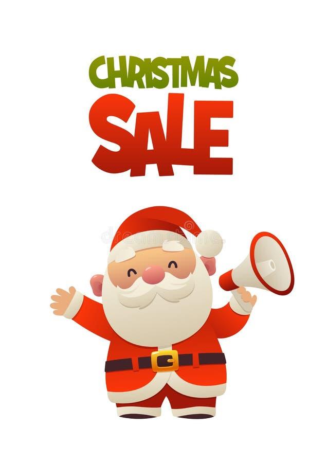 Desenhos animados bonitos Santa Claus com venda do Natal do megafone e do texto ilustração royalty free