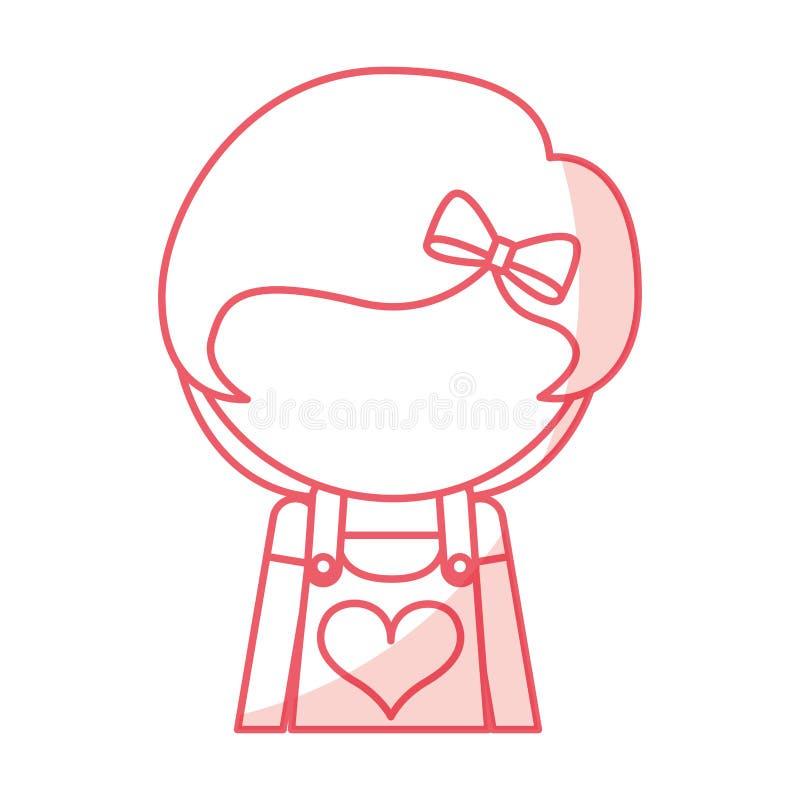Desenhos animados bonitos sem cara da menina da sombra ilustração royalty free