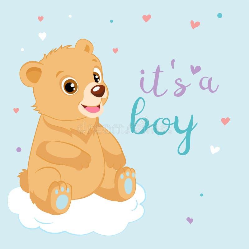 Desenhos animados bonitos Teddy Bear Design Vetora Bebê Teddy Bear Shower Invitation Card ilustração stock