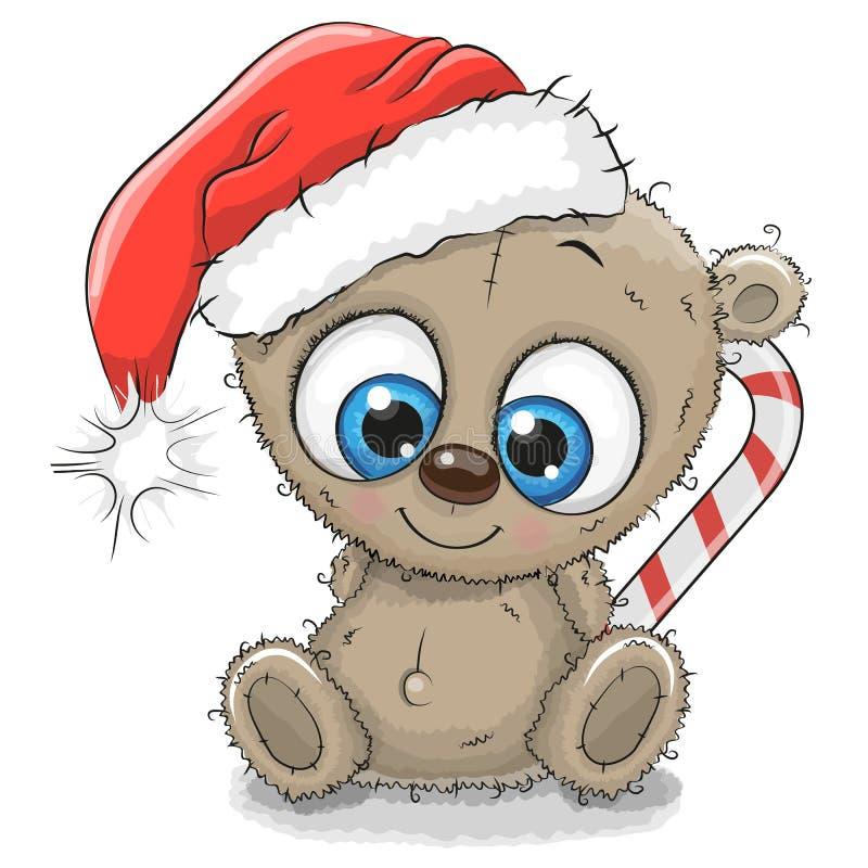 Desenhos animados bonitos Teddy Bear em um chapéu de Santa ilustração do vetor
