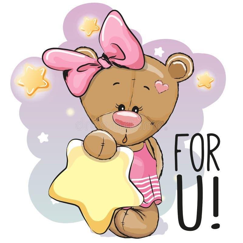 Desenhos animados bonitos Teddy Bear Girl ilustração stock