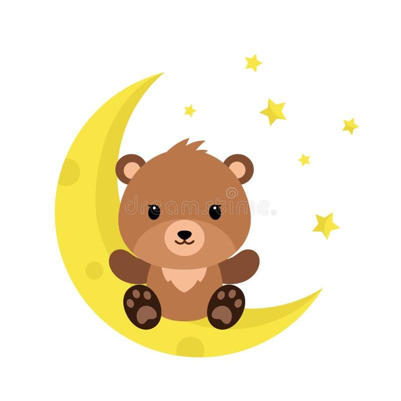 Desenhos animados bonitos Teddy Bear na lua ilustração stock