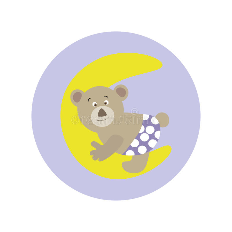 Desenhos animados bonitos Teddy Bear na lua ilustração royalty free