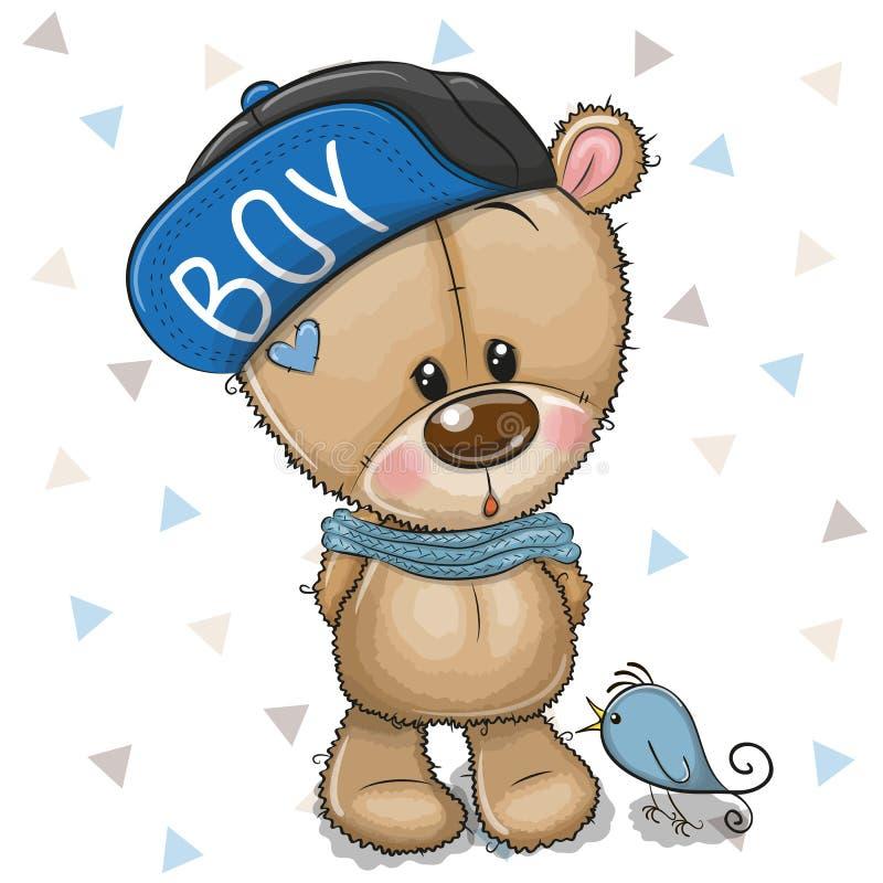 Desenhos animados bonitos Teddy Bear no tampão em um fundo branco ilustração stock