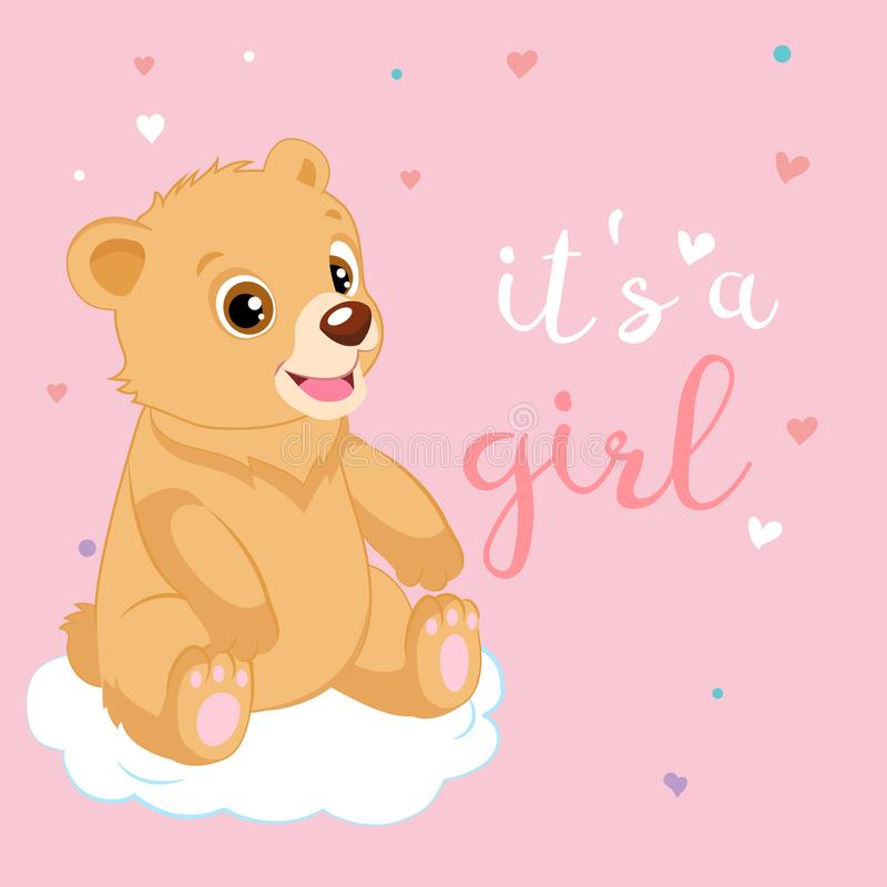 Desenhos animados bonitos Teddy Bear Pink Design Vetora Bebê Teddy Bear Shower Invitation Card ilustração royalty free
