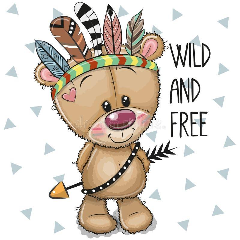 Desenhos animados bonitos Teddy Bear tribal com penas ilustração royalty free