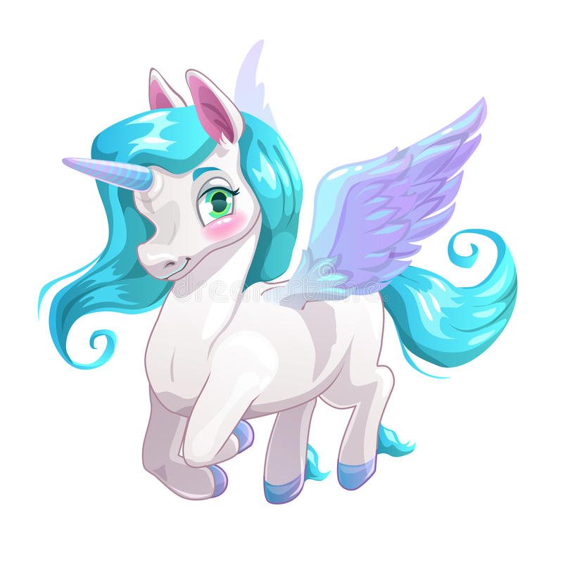 Desenhos animados brancos bonitos Pegasus bonito ilustração royalty free