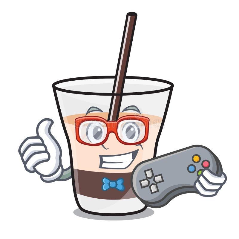 Desenhos animados brancos da mascote do russo do Gamer ilustração do vetor