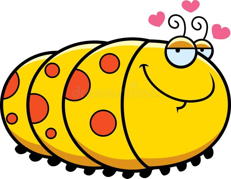 Desenhos animados Caterpillar no amor ilustração do vetor