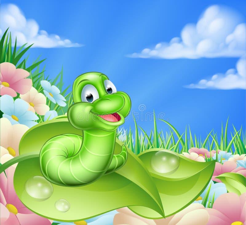 Desenhos animados Caterpillar no prado ilustração do vetor