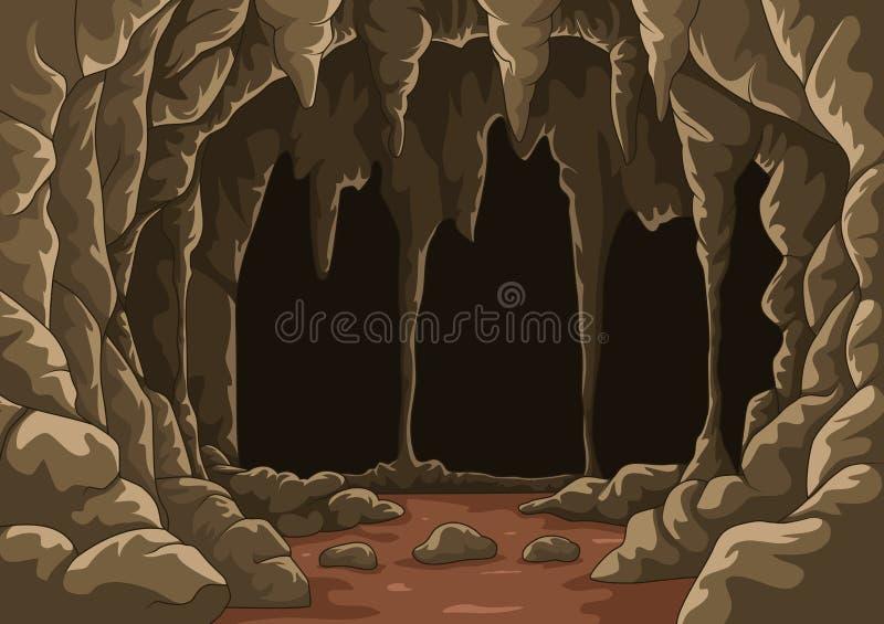 Desenhos animados a caverna com estalactites ilustração do vetor