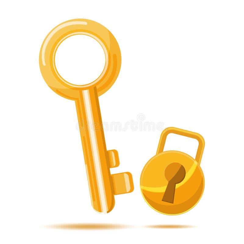 Desenhos animados chaves do ícone do negócio do ouro ilustração do vetor