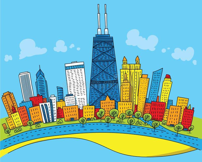 Desenhos animados Chicago ilustração royalty free