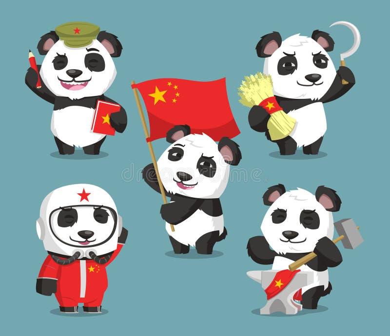 Desenhos animados chineses comunistas da panda ilustração do vetor