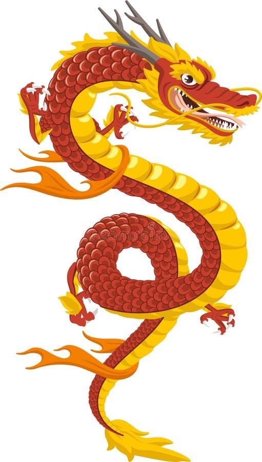 Desenhos animados chineses do dragão ilustração stock