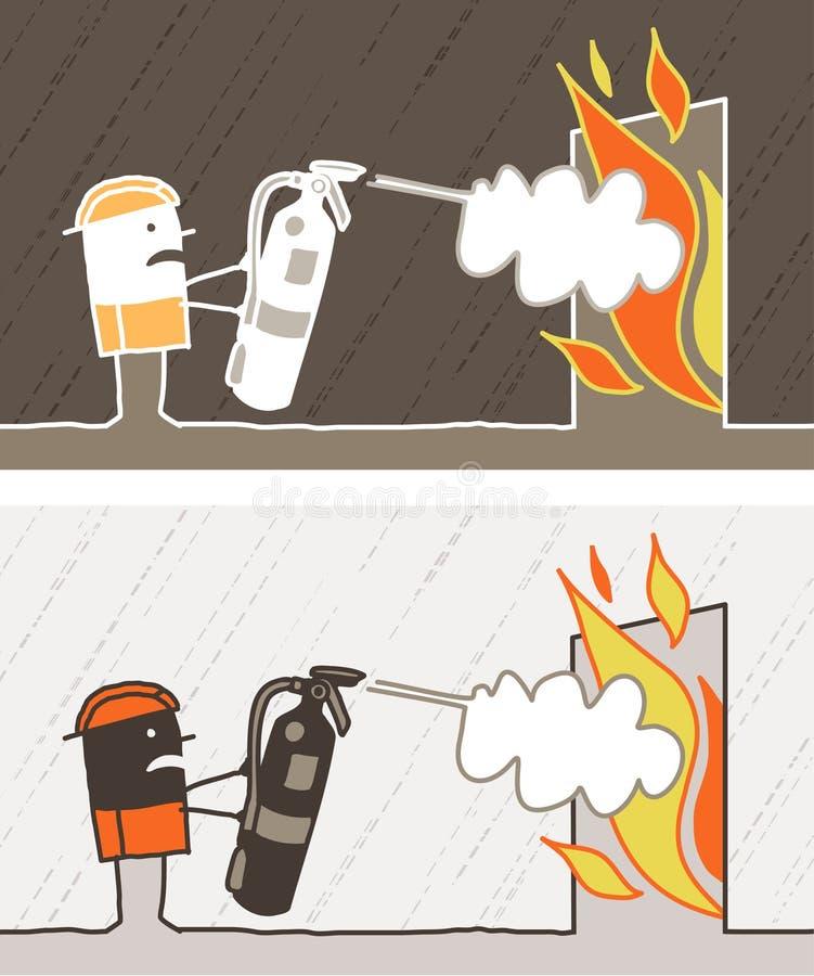Desenhos animados coloridos bombeiro ilustração stock