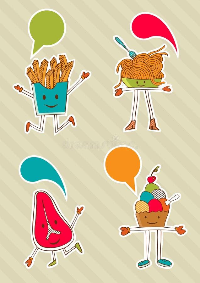 Desenhos animados coloridos do alimento com balão do diálogo. ilustração royalty free