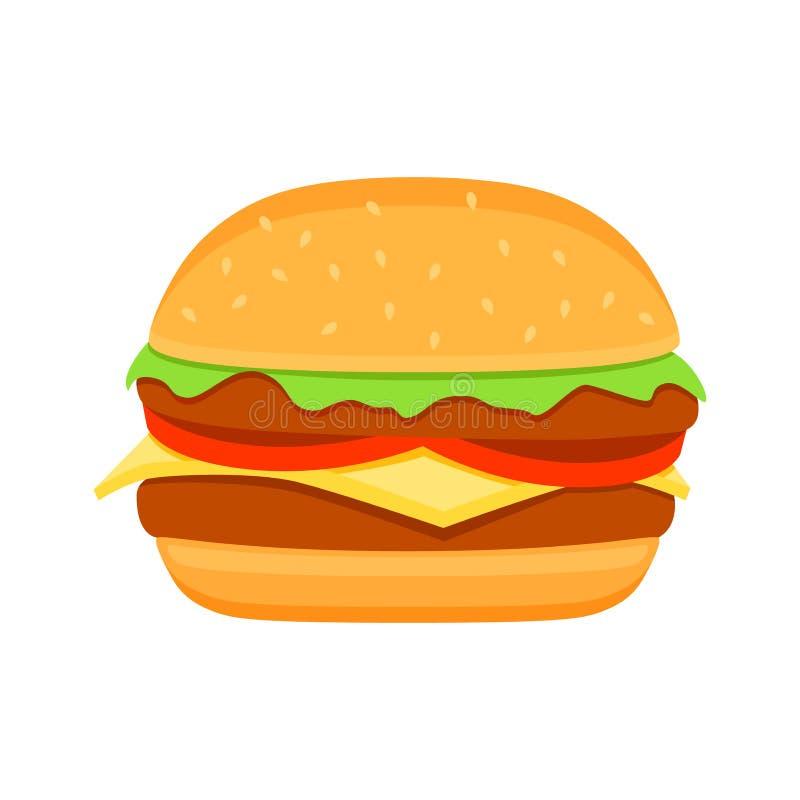 Desenhos animados coloridos do vetor do hamburguer Ícone do clipart do vetor do hamburguer do fast food ilustração stock