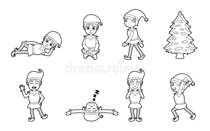Desenhos Animados Colorindo Preto E Branco Das Poses Do Duende Do