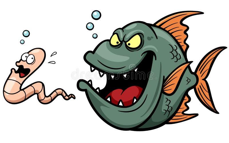 Desenhos animados com fome dos peixes irritados ilustração do vetor