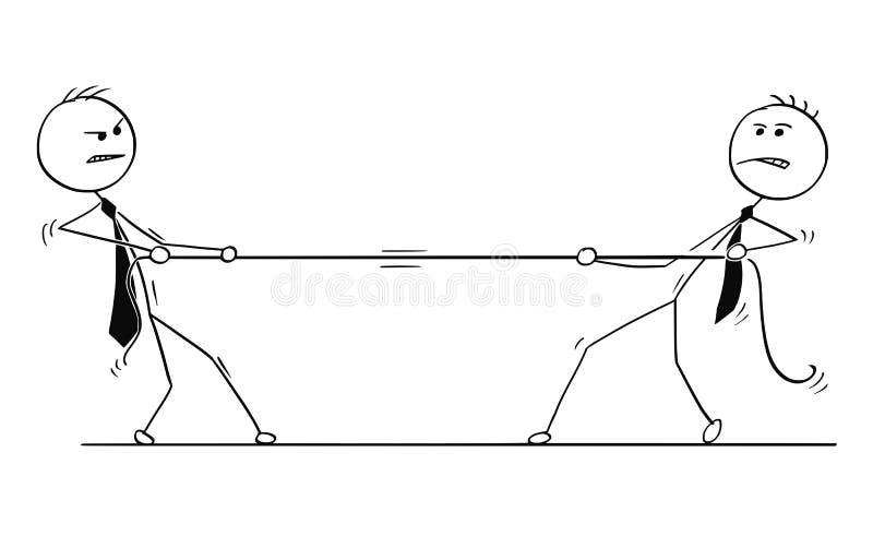 Desenhos animados conceptuais da competição de dois homens de negócios ilustração stock