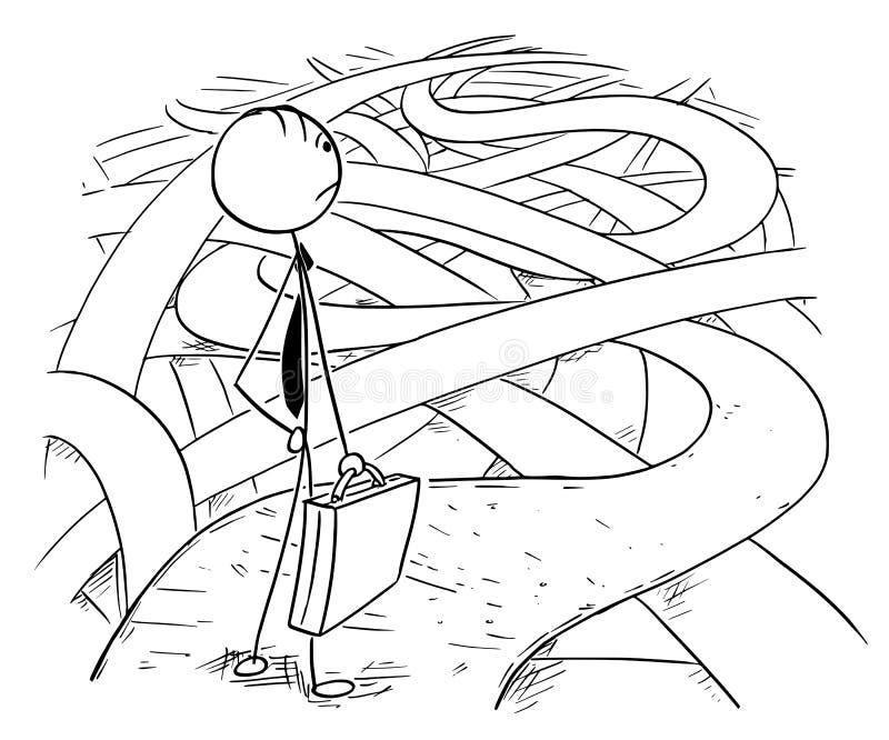 Desenhos animados conceptuais de escolhas difíceis do homem de negócio ilustração royalty free