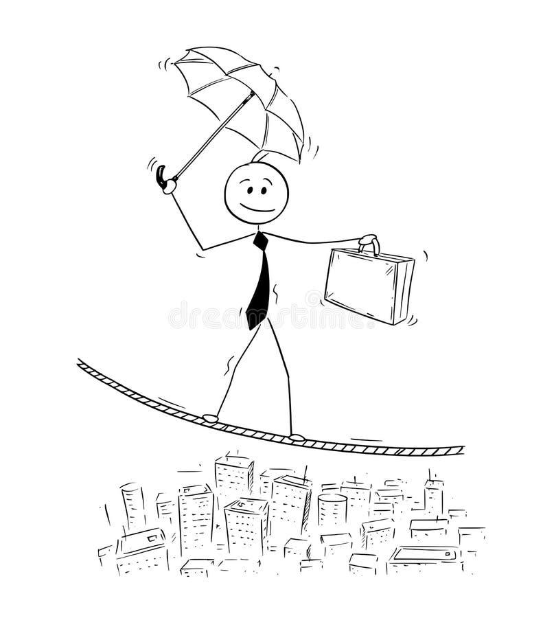 Desenhos animados conceptuais do homem de negócios Balancing na corda ilustração do vetor