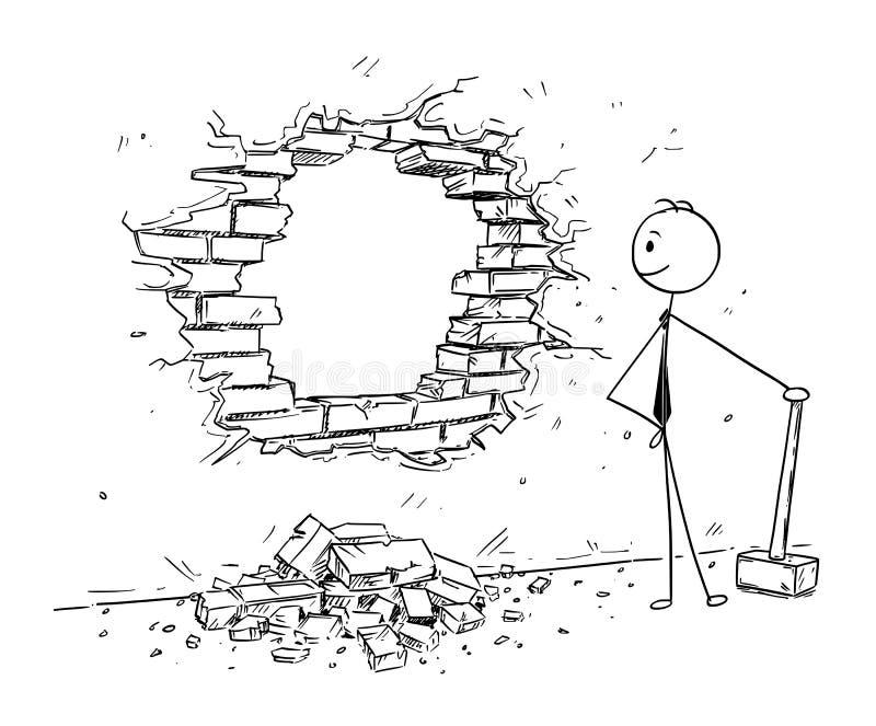 Desenhos animados conceptuais do homem de negócios Breaking uma parede ilustração do vetor