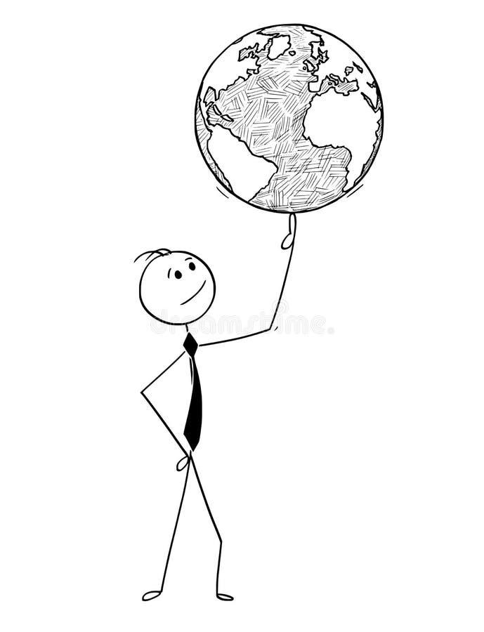 Desenhos animados conceptuais do homem de negócios com o globo do mundo no dedo ilustração do vetor