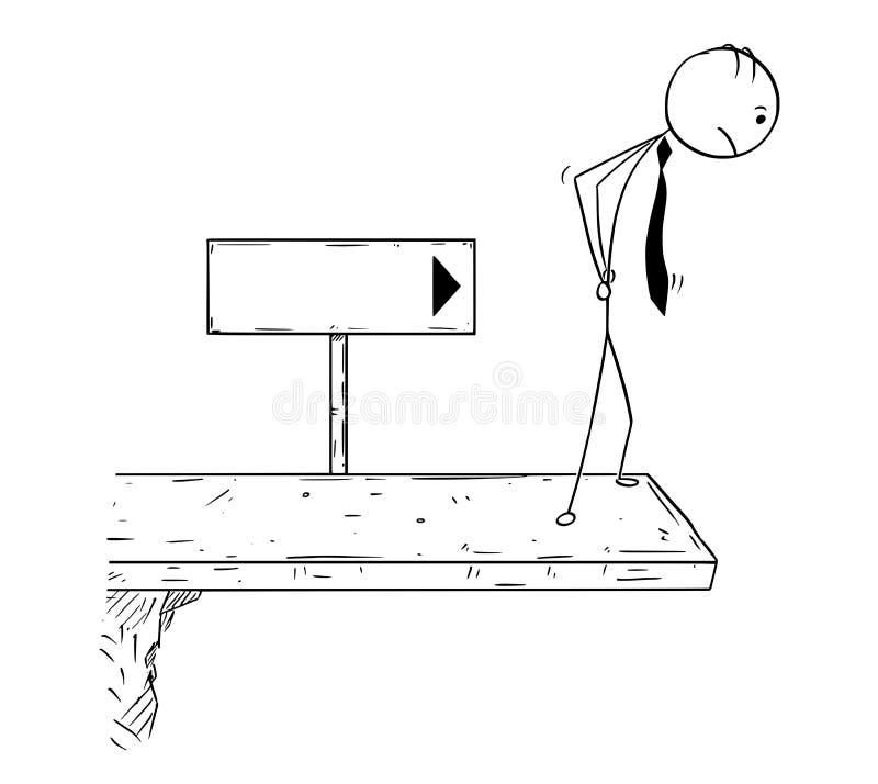 Desenhos animados conceptuais do homem de negócios na ruptura de carreira ilustração do vetor