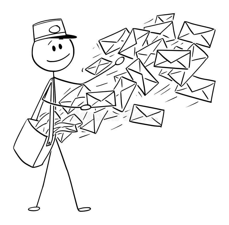 Desenhos animados conceptuais do vetor do carteiro que enviam envelopes do correio ou do cargo ilustração stock