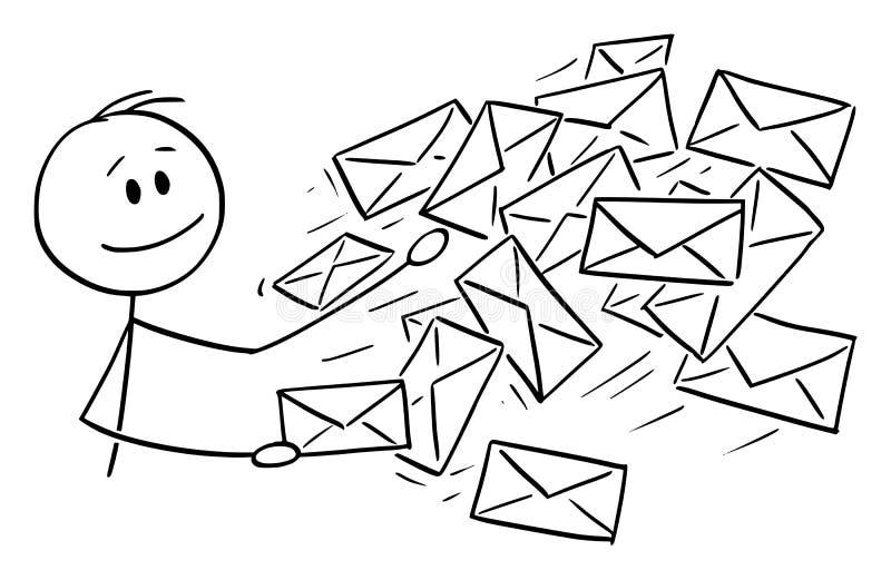 Desenhos animados conceptuais do vetor do homem, o carteiro ou o homem de negócios Sending Mail ou os envelopes do cargo ilustração stock