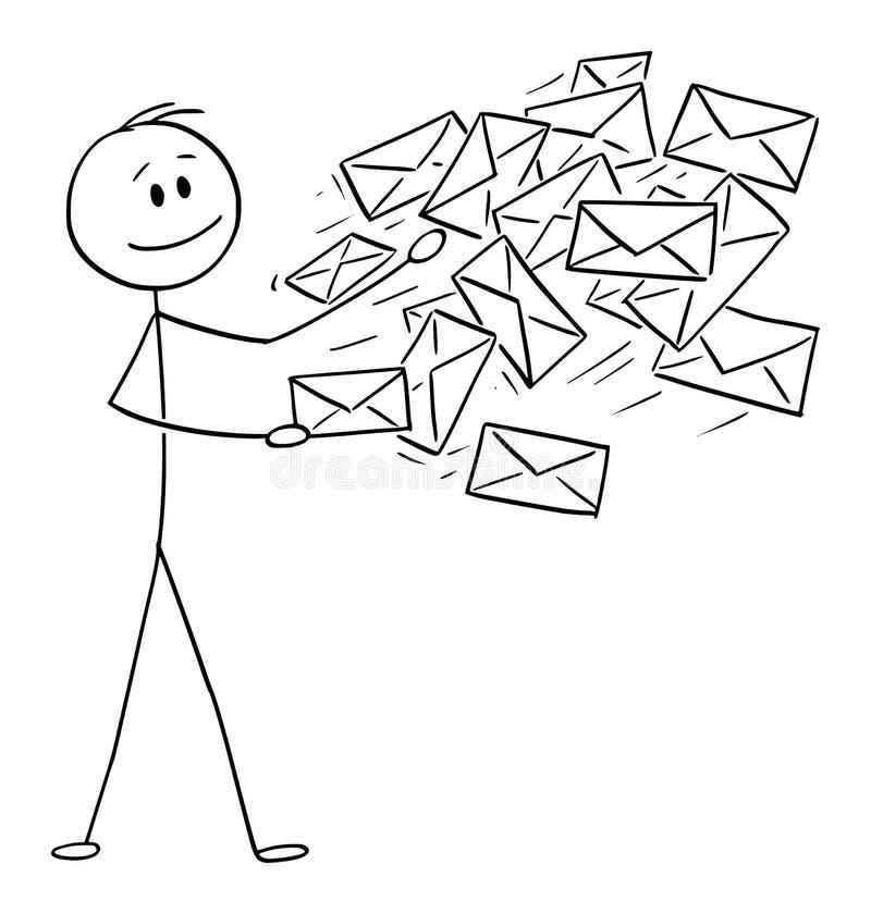 Desenhos animados conceptuais do vetor do homem, o carteiro ou o homem de negócios Sending Mail ou os envelopes do cargo ilustração royalty free