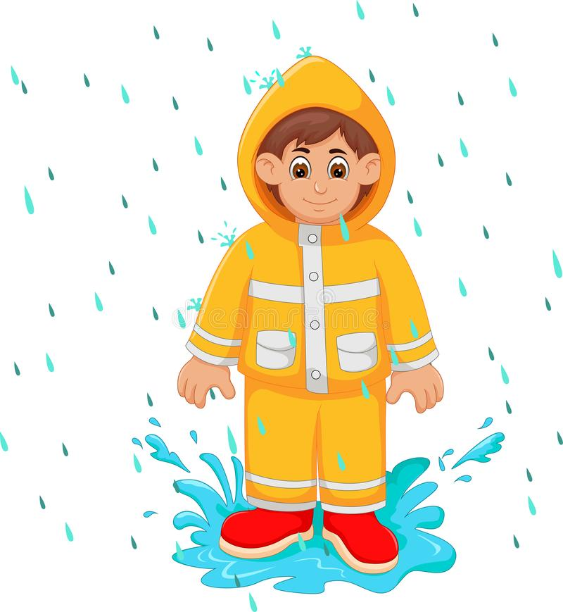Desenhos animados consideráveis do homem sob a capa de chuva do amarelo do uso da chuva