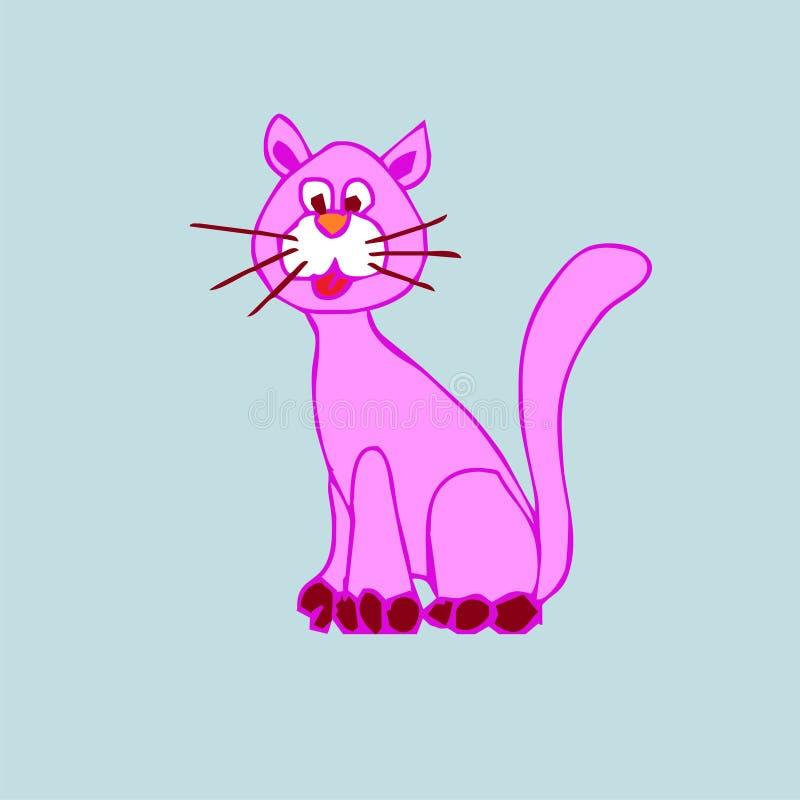 Desenhos animados cor-de-rosa bonitos do gato foto de stock