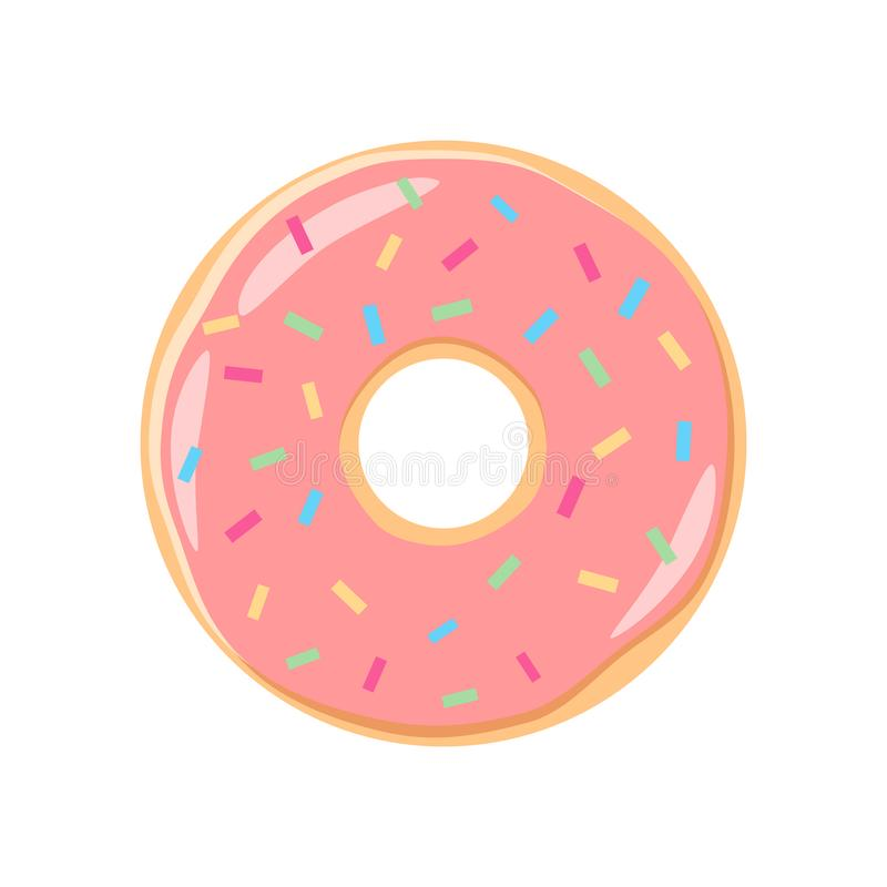 Desenhos animados cor-de-rosa coloridos da filhós da crosta de gelo A filhós cor-de-rosa da geada com polvilha ilustração do vetor