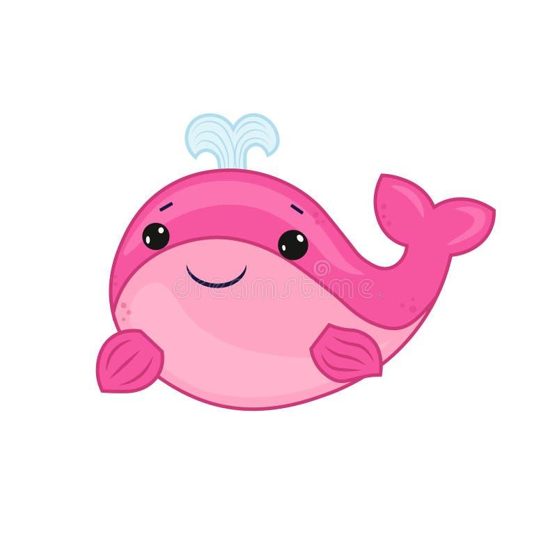 Desenhos animados cor-de-rosa da baleia da vida marinha Esta??o de ver?o Projeto animal do vetor dos desenhos animados Cópia boni ilustração do vetor