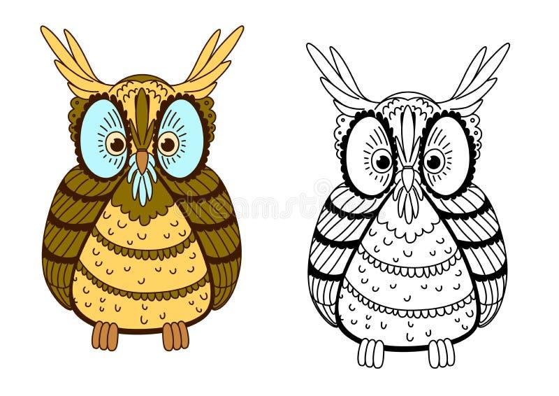 Desenhos animados coruja colorida e do esboço de águia ilustração stock