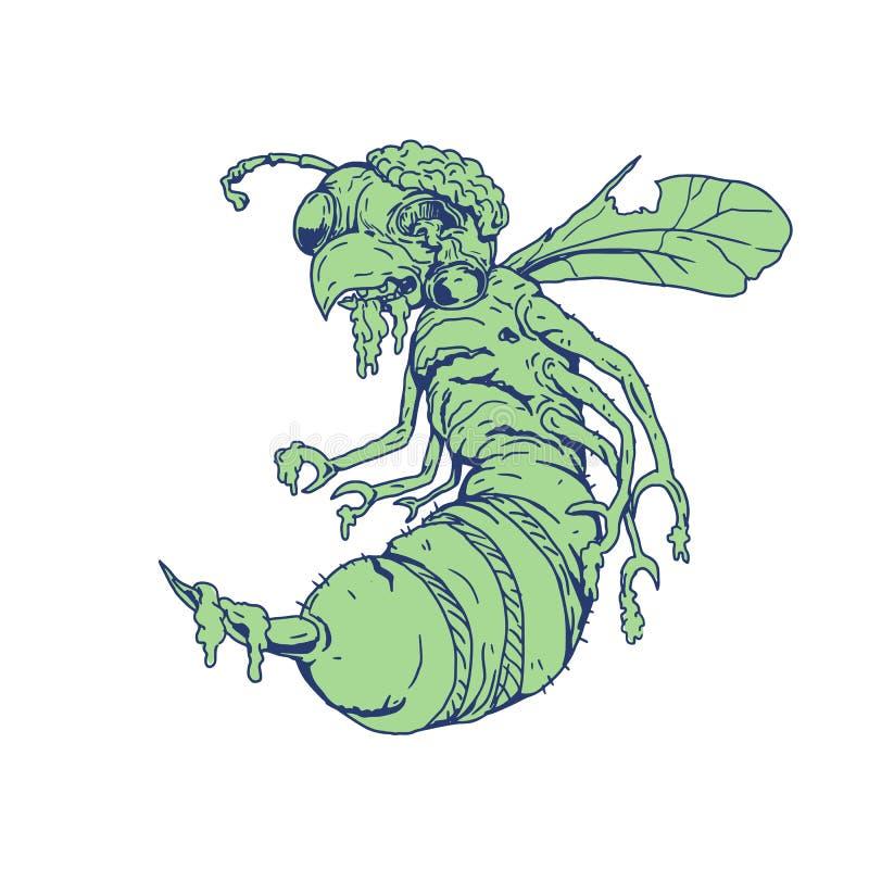 Desenhos animados da abelha do zombi ilustração stock