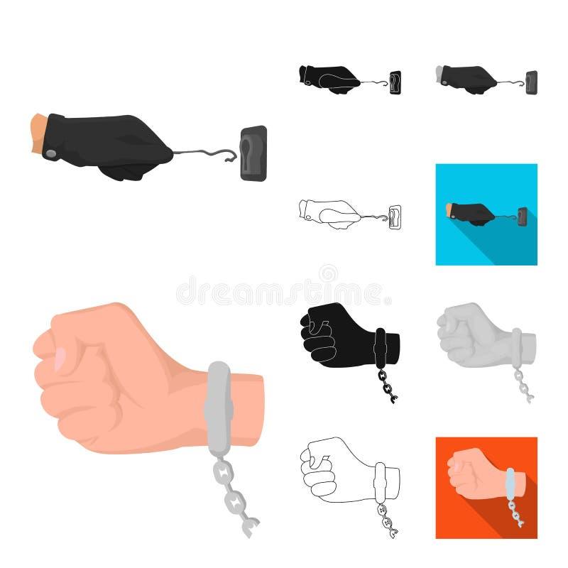 Desenhos animados da agência de detetive, preto, liso, monocromático, ícones do esboço na coleção do grupo para o projeto Crime e ilustração royalty free