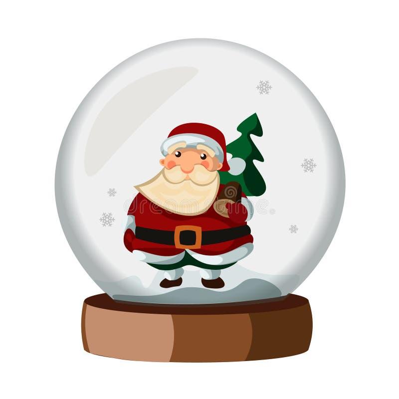 Desenhos animados da bola de neve com Santa Claus ilustração royalty free
