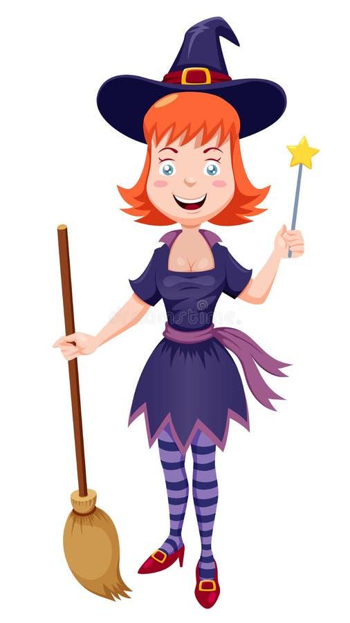 Desenhos animados da bruxa com vassoura ilustração stock