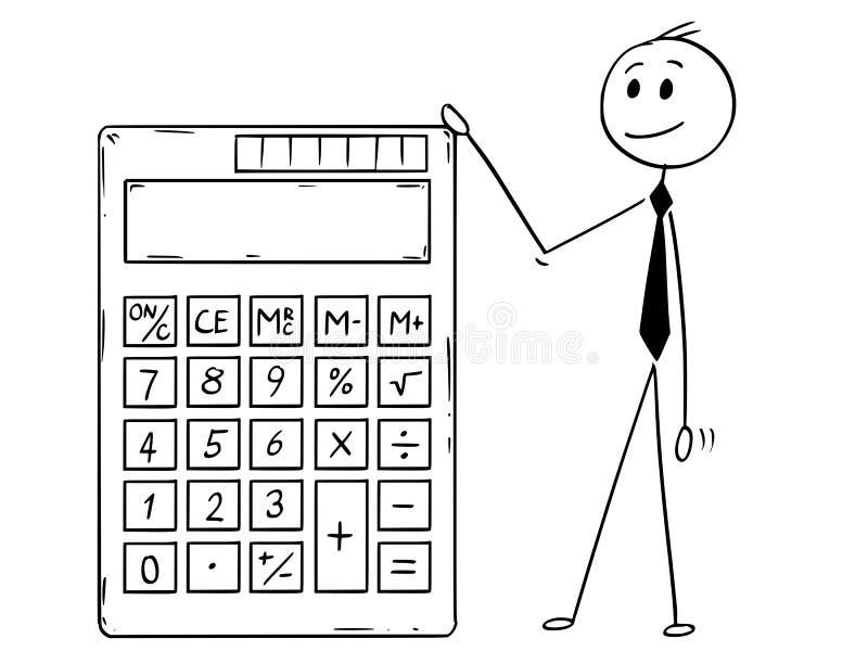 Desenhos animados da calculadora eletrônica de Standing With Big do homem de negócios ilustração stock