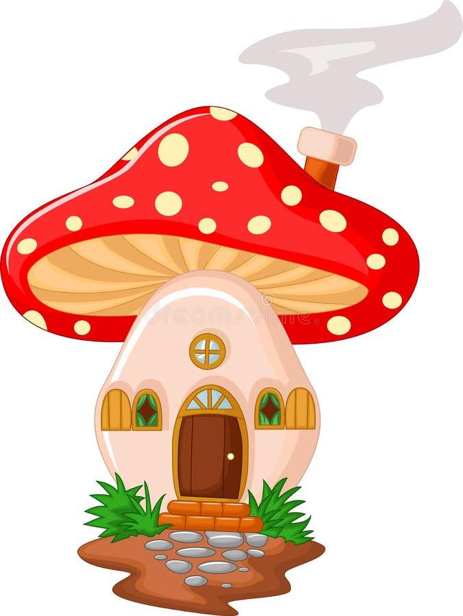 Desenhos animados da casa do cogumelo ilustração royalty free