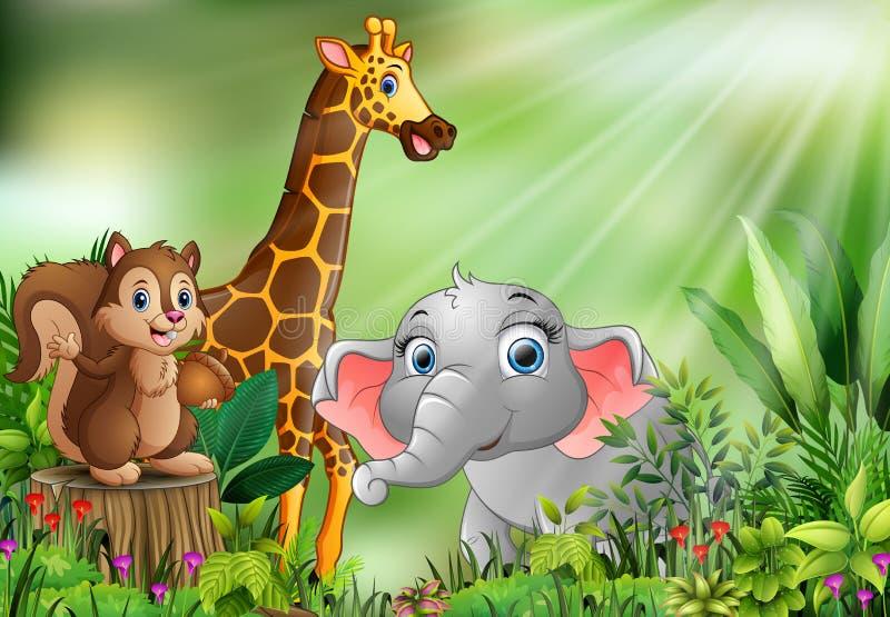 Desenhos animados da cena da natureza com animais diferentes ilustração stock
