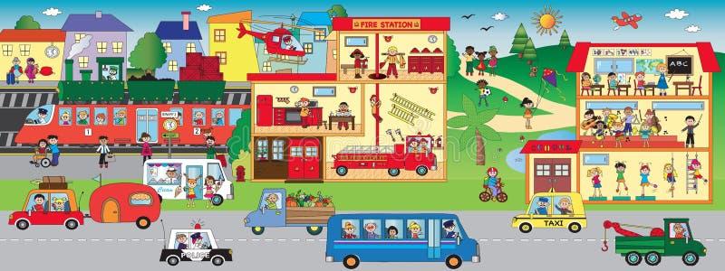 Desenhos animados da cidade ilustração stock