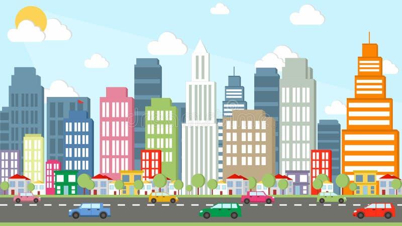 Desenhos animados da cidade bonita fotografia de stock royalty free