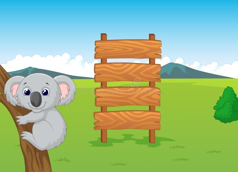 Desenhos animados da coala com sinal de madeira ilustração stock