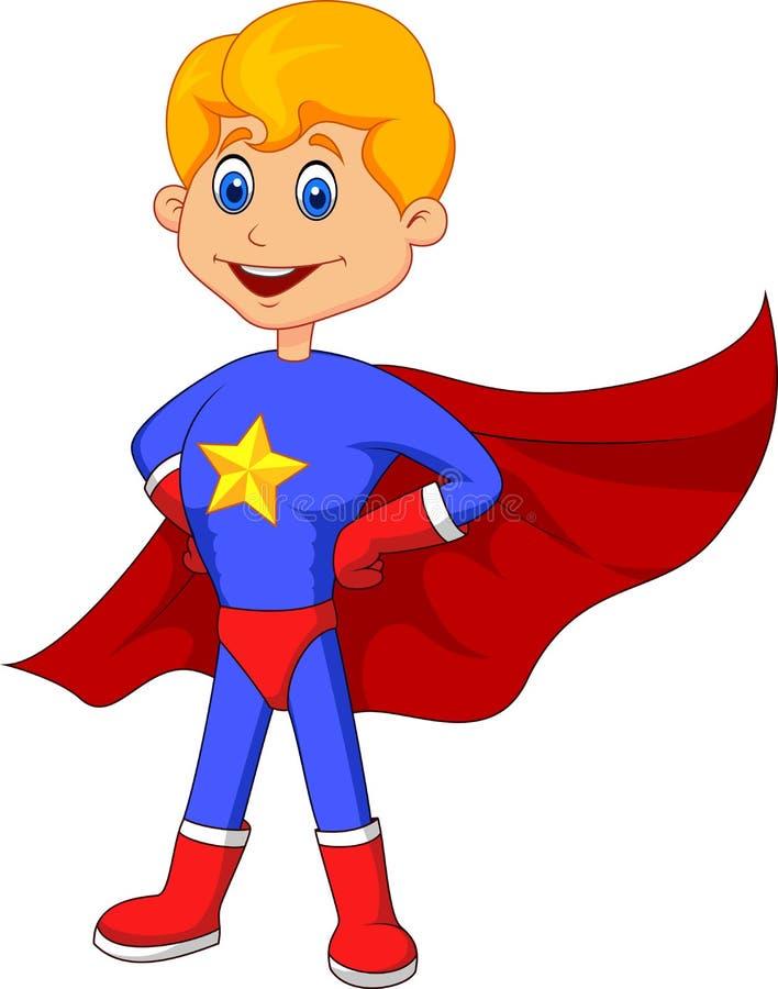 Desenhos animados da criança do super-herói ilustração do vetor
